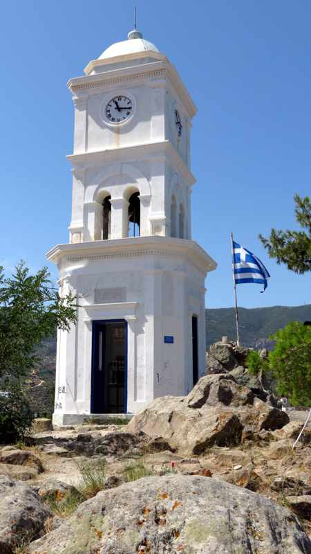 Greece, Greek island, Saronic island, Poros, Poros Greece, Poros island, clock tower, Poros clock tower,