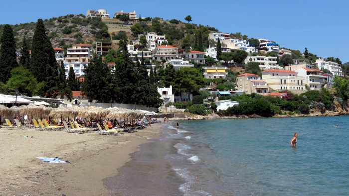 Greece, Greek island, Saronic island, Poros, Poros Greece, Poros island, beach, Kanali beach, Kanali beach Poros, sand, water, mountains,