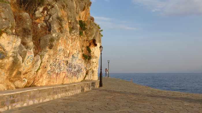 Greece, Peloponnese,Argolida, Nafplio, Arvanitia promenade, path, walkway, coast, Argolic Gulf, Acronauplia peninsula,