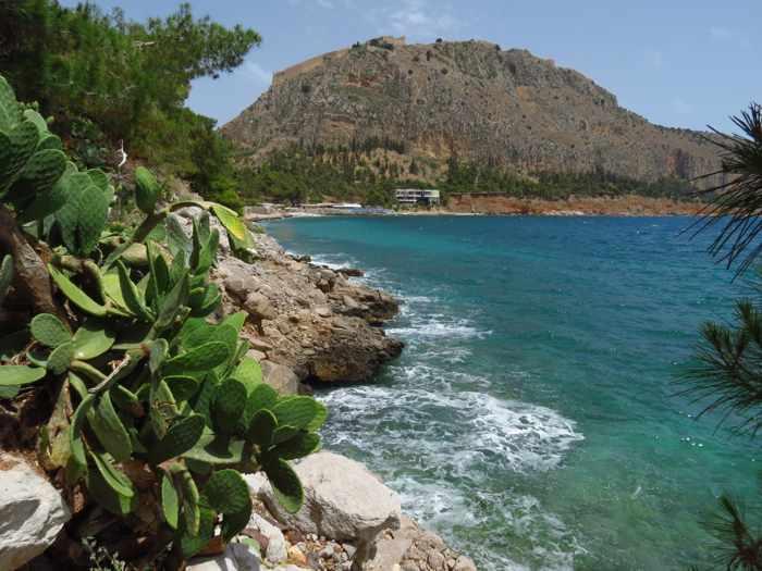 Greece, Peloponnese, Argolida, Nafplio, Palamidi, sea, gulf, coast, Arvanitia promenade,