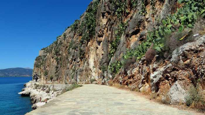 Greece, Peloponnese, Argolida, Nafplio, Arvanitia promenade, path, walkway, coast, cliffs, Acronauplia peninsula