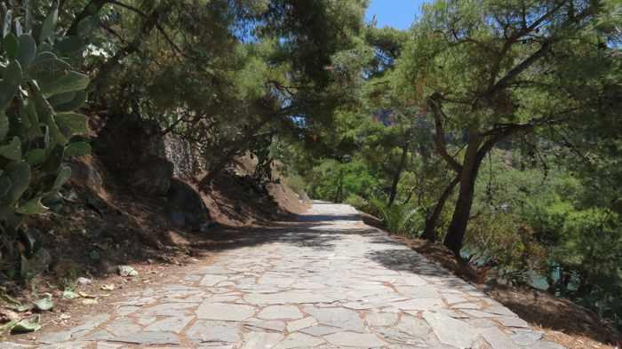 Greece, Peloponnese, Argolida, Nafplio,Arvanitia promenade, walkway,path, trees,