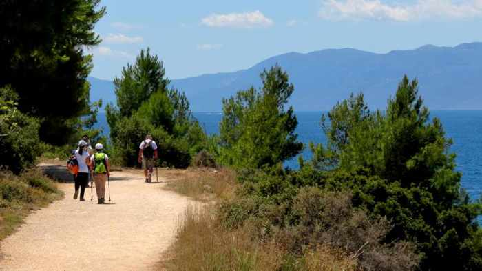 Greece, Peloponnese, Nafplio, Karathona, Karathona path, footpath, path, trail, walkway, hikers, trees,