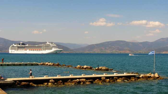 Greece, Pelopponese, Argolida, Nafplio,Argolic Gulf, sea, bay, coast, Banieres, cruise ship, ship