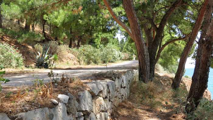 Greece, Peloponnese, Nafplio, Karathona, Karathona beach path, path, walkway, trail,