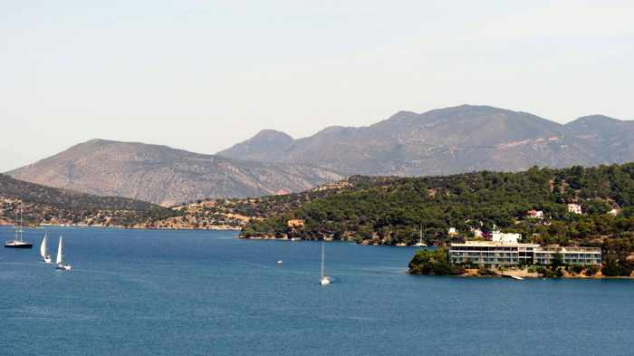 Greece, Greek island, Poros, Poros island, Poros Greece, Saronic island, Saronic Gulf, sea, Peloponnese, mountains, coast,