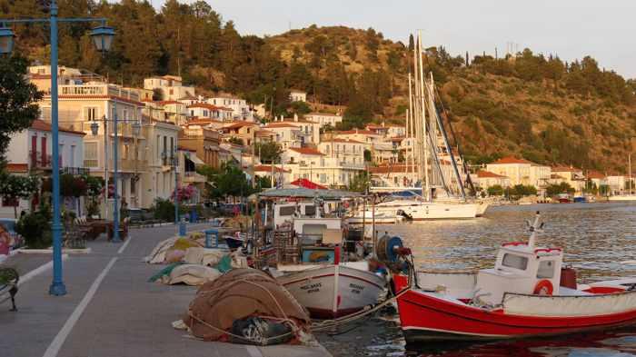 Greece, Greek island, Saronic island, Poros, Poros Greece, Poros island, Poros Town, harbourfront, seafront, fishing boats, boats,