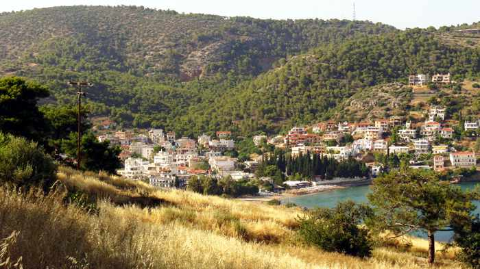 Greece, Greek island, Saronic island, Poros, Poros island, Poros Greece, mountains, hills, beach, Kanali beach Poros, Kanali beach, trees