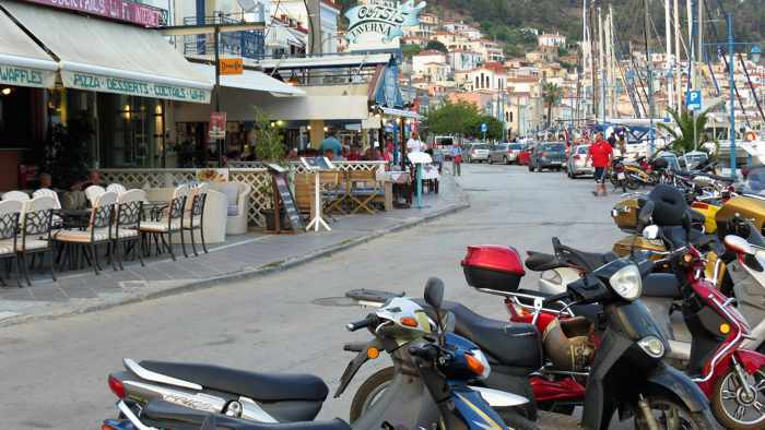 Greece, Greek island, Saronic island, Poros, Poros Greece, Poros island, Poros Town, street, road, buildings,