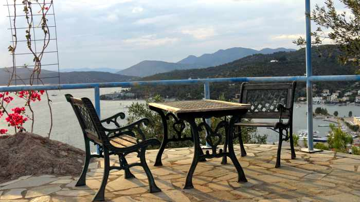 Greece, Greek island, Saronic island, Poros, Poros Greece, Poros island, terrace, patio,