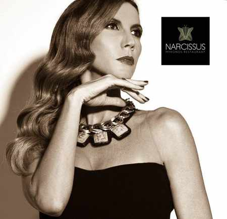 Promotional image for the Ioanna Sevoupoulou live music show at Narcissus restaurant Mykonos