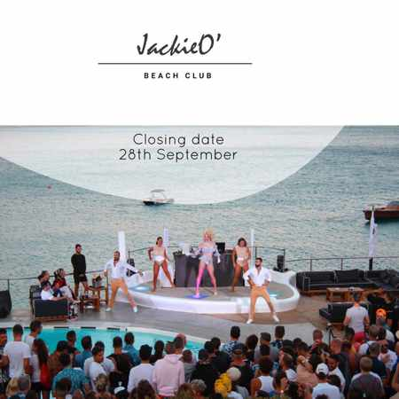 Promotional image announcing JackieO Beach Club Mykonos closing day September 28