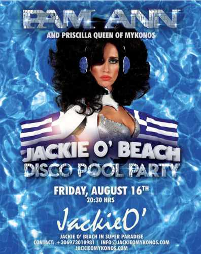 JackieO Beach Club Mykonos pool party with Pam Ann on Friday August 16
