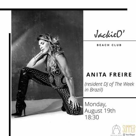 JackieO Beach Club Mykonos presents DJ Anita Freire on Monday August 19