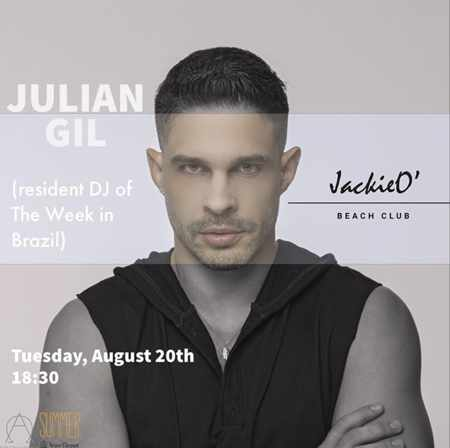 JackieO Beach Club Mykonos presents DJ Julian Gil on Tuesday August 20