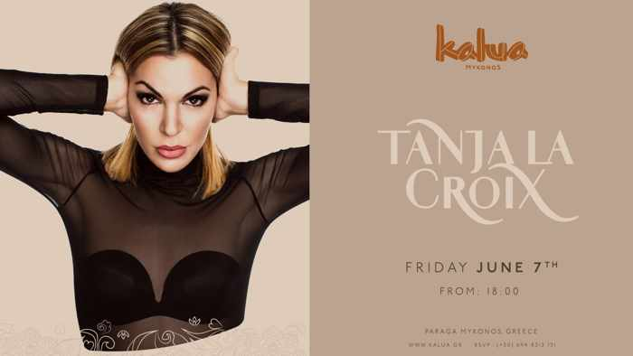 Promotional photo for DJ Tanja La Croix appearance at Kalua Bar Mykonos