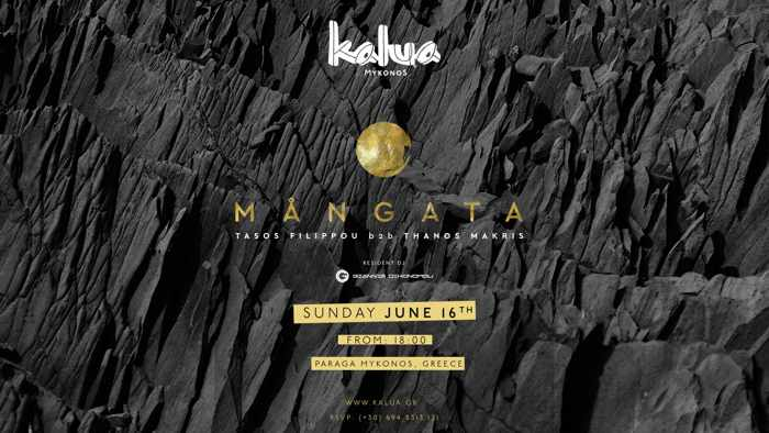 Promotional image for the Mangata Projekt show at Kalua Mykonos