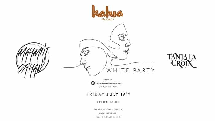 Advertisement for the July 19 White Party at Kalua Mykonos