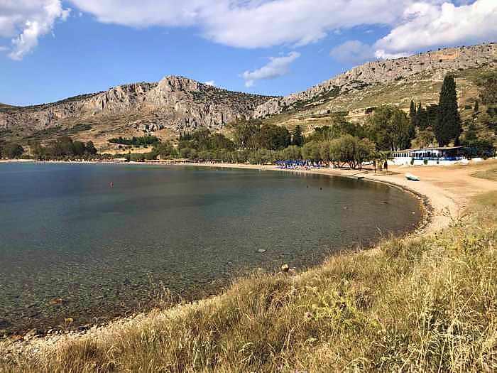 Greece, Peloponnese, Argolida, Nafplio, Karathona, Karathona Beach, beach, coast, seaside