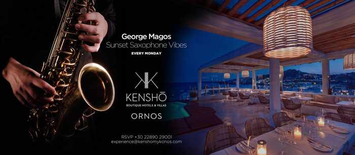 Kensho Ornos hotel Sunset Saxophone Vibes events with George Magos every Monday during summer 2019