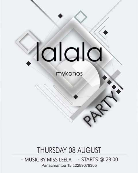 Promotional ad for an August 8 party at Lalala restaurant and cocktail bar on Mykonos