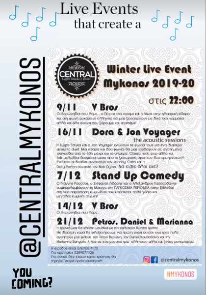 Live music events at Central Mykonos in November and December 2019