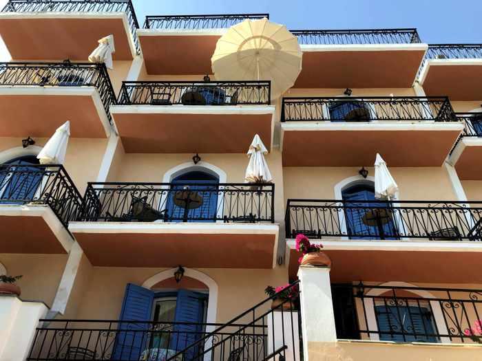 Greece, Greek island, Saronic island, Poros, Poros Greece, Poros island, hotel, Maria Studios Poros, building, architecture, balconies