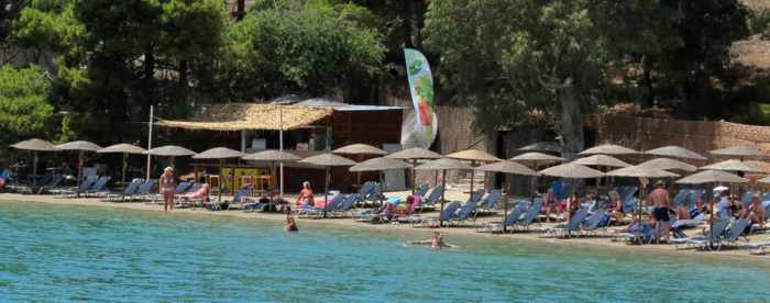 Greece, Greek island, Saronic island, Poros, Poros Greece, Poros island, beach, Poros beach, Mikro Neorio beach, coast, shore, people,