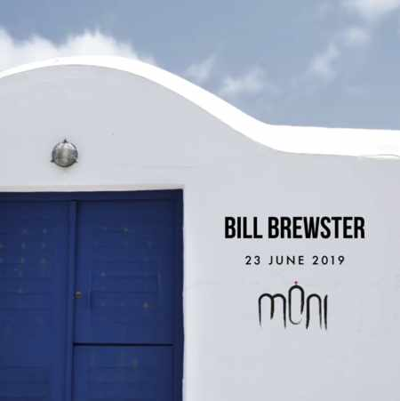 Promotional image for DJ Bill Brewster appearance at Moni Club on Mykonos June 23