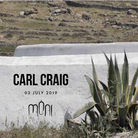 Promotional ad for Moni nightclub Mykonos party with music by Carl Craig