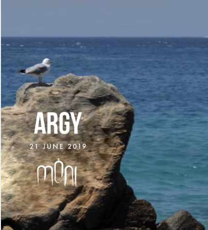 Promotional image for DJ Argy appearance at Moni club Mykonos