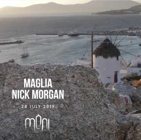 Promotional ad for the Moni nightclub Mykonos party featuring DJs Maglia and Nick Morgan on July 28