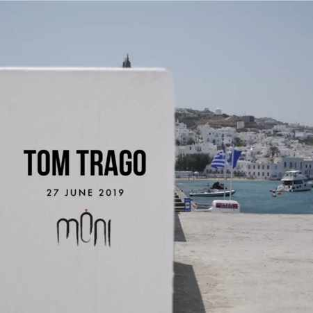 Promotional image for Tom Trago show at Moni club Mykonos