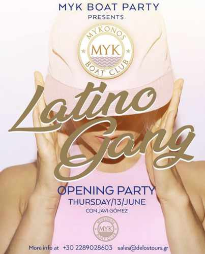 Promotional image for the June 13 opening party for the Latino Gang events of Mykonos Boat Club