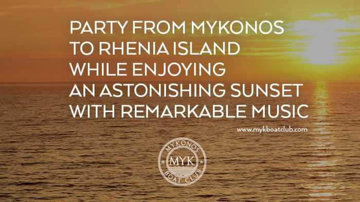 Promotional image for the sunset boat party cruises offered by Mykonos Boat Club
