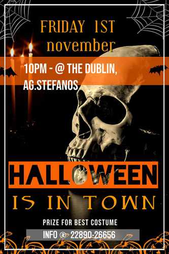 November 1 Halloween Party announcement by The Dublin pub on Mykonos