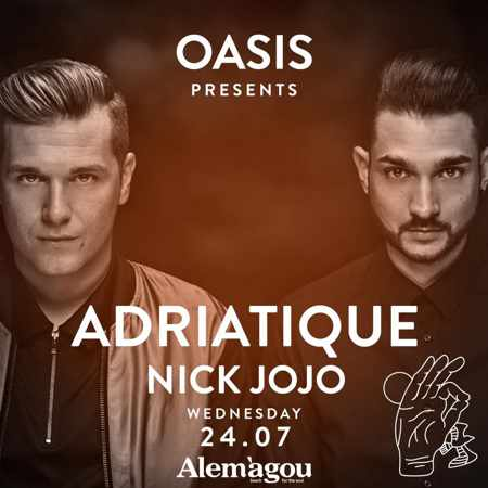 Oasis presents Adriatique at Alemagou beach club Mykonos