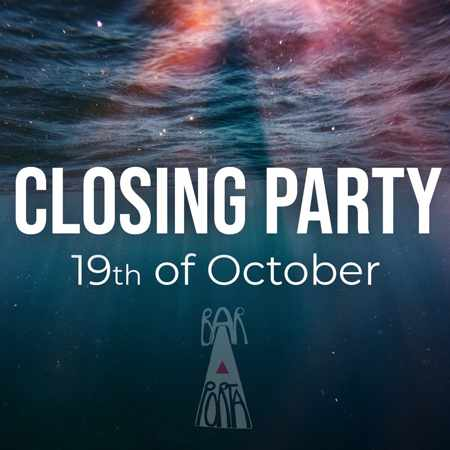 Porta Bar Mykonos announcement for its October 19 season closing party