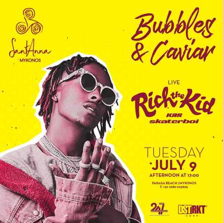 Promo ad for Rich the Kid appearance at SantAnna Mykonos summer 2019