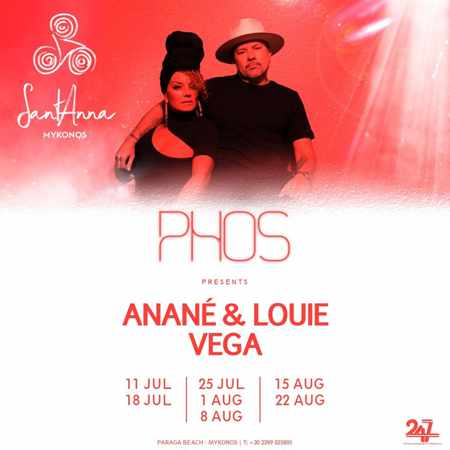 Promo ad for summer 2019 appearances of Anane and Louis Vega at SantAnna Mykonos