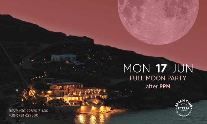 Promo image for Ftelia Beach Club Mykonos Strawberry Full Moon party