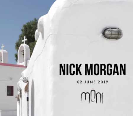 Promo image for Nick Morgan appearance at Moni Club Mykonos