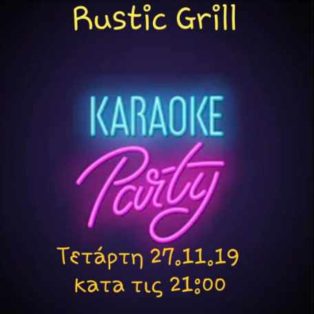Promotiional ad for a Karaoke Party at Rustic Grill Mykonos on November 27