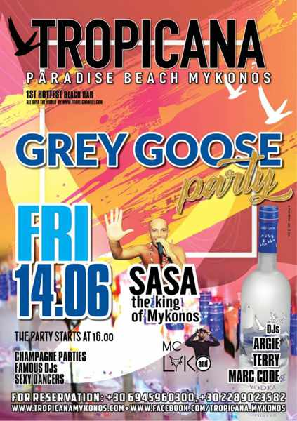 Promotional ad for Tropicana Mykonos Grey Goose party
