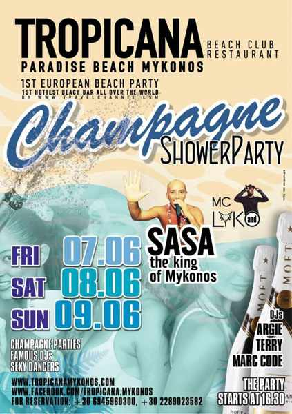Promotional ad for Tropicana Mykonos champagne showers parties