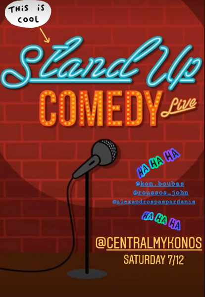 Promotional ad for the Stand Up Comedy Night at Central Mykonos on December 7