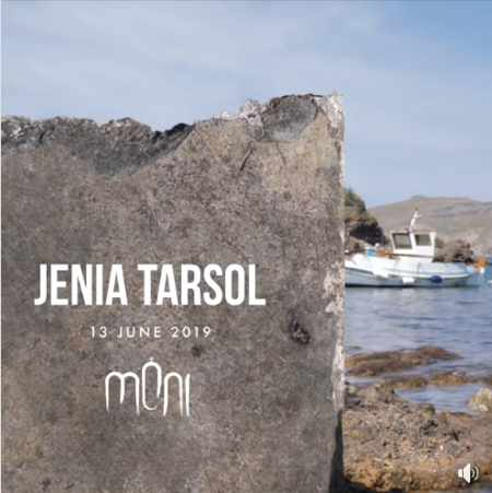 Promotional image for Jenia Tarsol appearance at Moni club on Mykonos