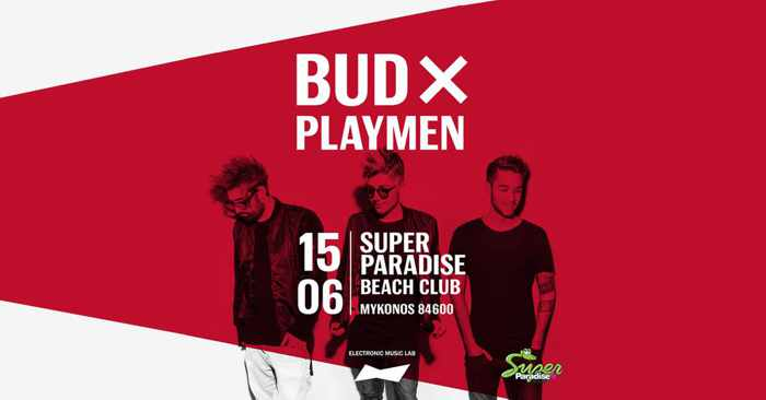 Promotional image for Super Paradise Beach Club party featuring Playmen