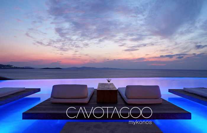 Promotional ad for the Mykonos Mystique Party at Cavo Tagoo Hotel July 20