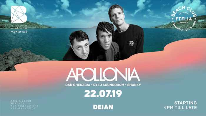 Promotional image for the Apollonia show at Ftelia beach club Mykonos